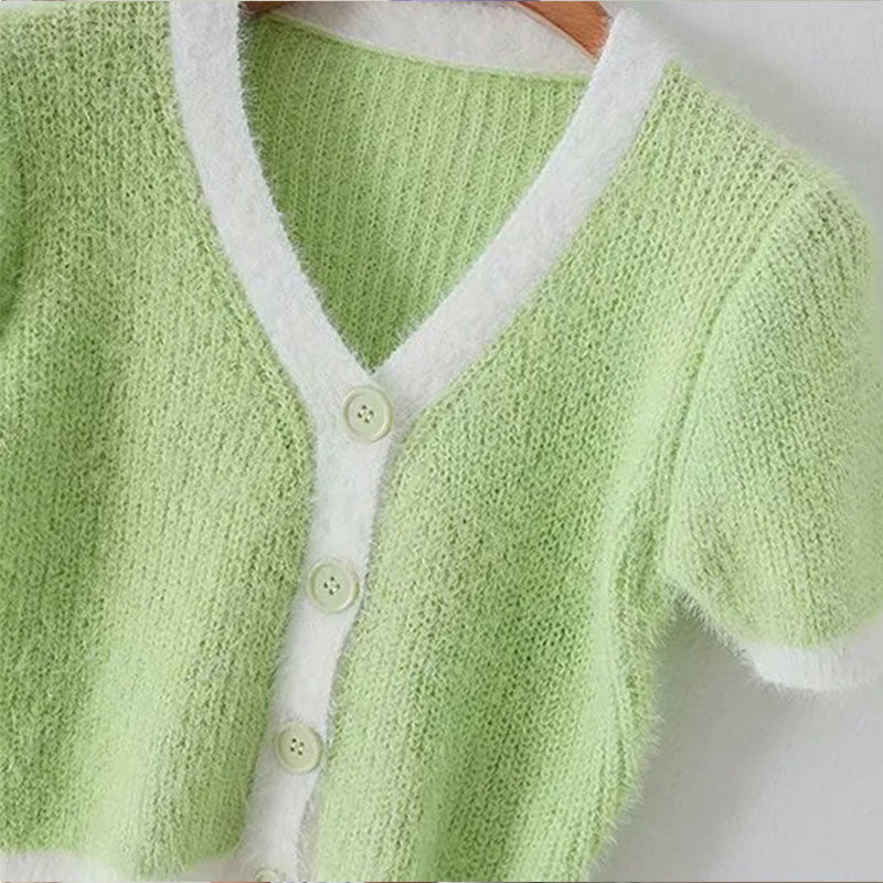 Glamaker Knitted green cardigan crop top women v neck short sleeve purple cardigan summer fashion sexy female pink cardigan top