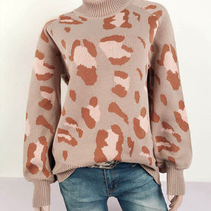 Glamaker Fashion leopard print knitted sweaters women 2020 Turtleneck long sleeve sweater ladies casual loose pullover jumper