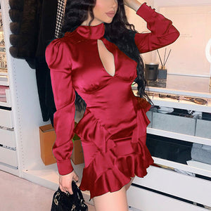 Glamaker Ruffle long sleeve sexy party dress women hollow out burgundy bodycon club mini dress elegant ladies chic vintage dress