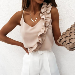 Glamaker Women Sexy V Neck Ruffle Blouse Shirts Summer Backless Spaghetti Strap Tops Elegant Sleeveless Office Ladies Blouses