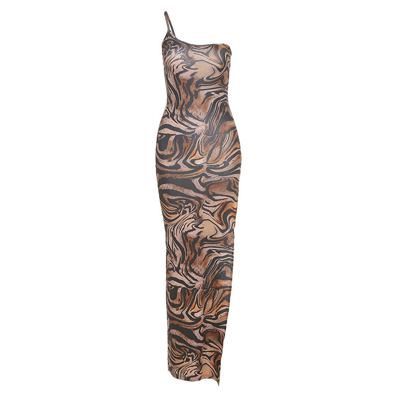 Glamaker One shoulder sexy long dress women high split leopard print bodycon maxi dress elegant 2020 sleeveless party club dress