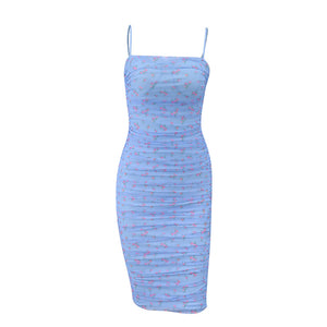 Glamaker Floral print strapless bodycon dress women sleeveless pleated summer mesh sexy dress elegant party club midi dress 2020