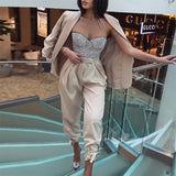 Two piece set sexy blazer suits Women lace up casual top and pants Office ladies fashion streetwear female co ord set