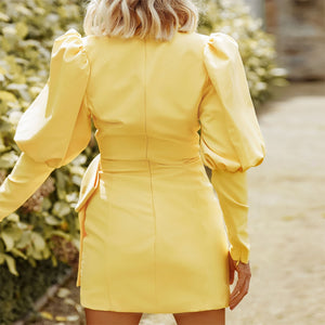 Glamaker Yellow lantern sleeve autumn dress women sexy office elegant short dress fashion ladies 2020 bodycon party club dress