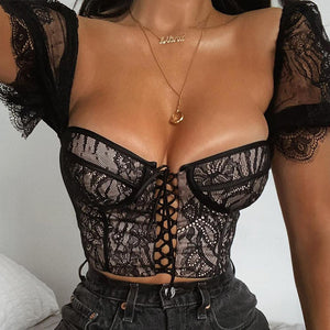 Glamaker Black lace up mesh sexy crop top Women summer style short puff sleeve tank top cami Female night club camisole clothing