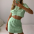 Glamaker Sexy o neck short sleeve suit set women crop top and skirt two piece set summer fashion ladies co ord club outfits 2020