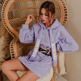 Glamaker Purple loose sweatshirt hoodies fashion women casual autumn long sleeve sweatshirt dress female oversize sweatshirt