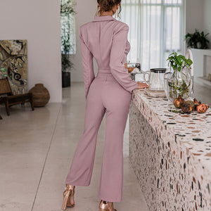 Pink purple 2 piece suit sets Women sexy short blazer and flared pants Office lady set autumn female sets sexy outfits