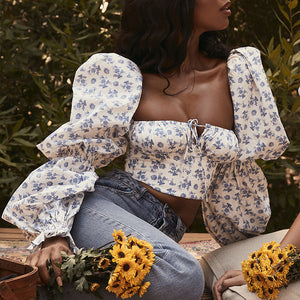 Floral print long puff sleeve top Bodycon square collar crop top Slim sexy winter autumn 2020 new top chiffon shirt