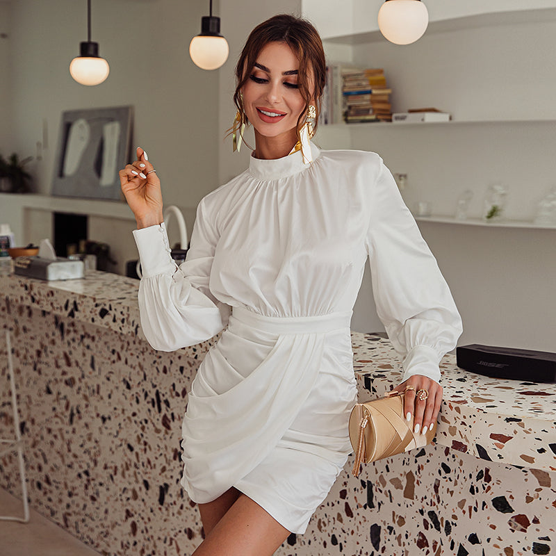 Lantern long sleeve mini dress Turtleneck party night club elegant bodycon dress Fashion winter autumn short vestidos