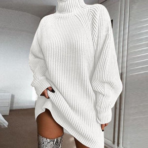 Glamaker Turtleneck gray sweater dress Women oversized lantern sleeve casual knitted dress Chic white loose pullover dress 2020