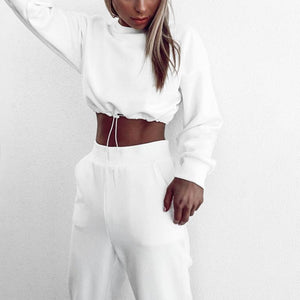 Glamaker White 2 piece suits Women crop top and pants sets casual winter autumn lady Streetwear sweatshirt sportwear loose suits