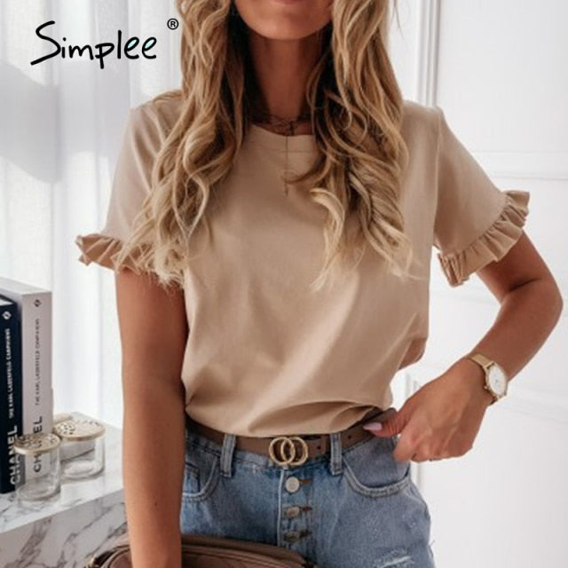 Simplee Women printed short sleeve round neck Shirt top Holiday beach summer style tops Cute square elegant solid slim shirts