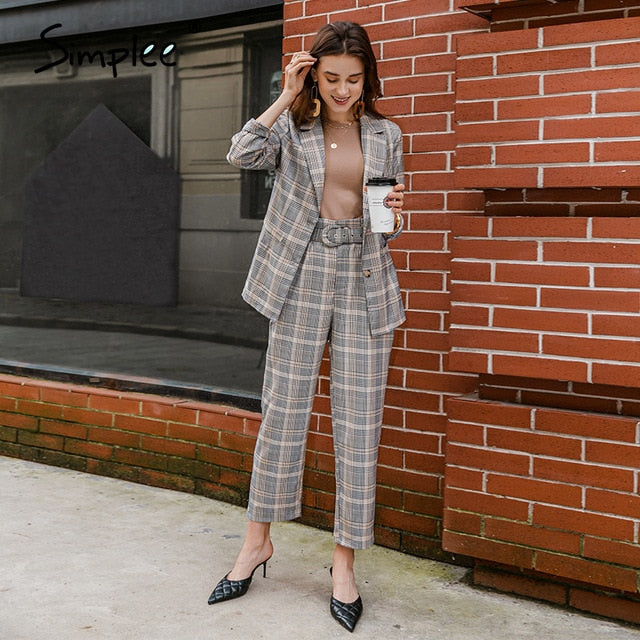 Simplee Fashion plaid women blazer suits Long sleeve Single-breasted belt blazer pants set Office ladies two-piece blazer sets