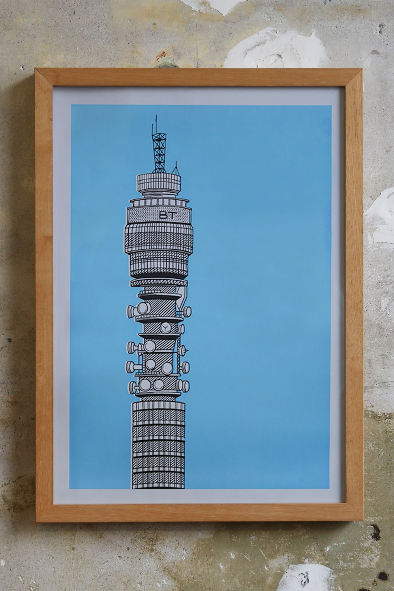 BT Tower Screen print Illustration Jitesh Patel
