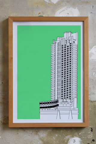 Barbican Tower Screen print Illustration Jitesh Patel