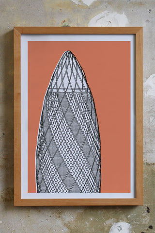 The Gherkin Screen print Illustration Jitesh Patel