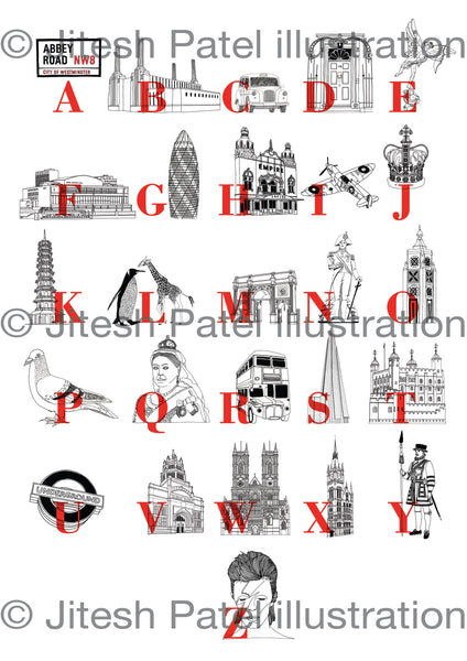 A to Z Alphabet London Landmarks