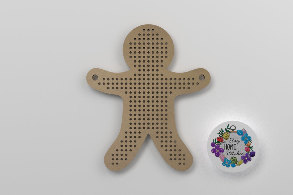 3-Inch Gingerbread Man Wooden Cross Stitch Blank