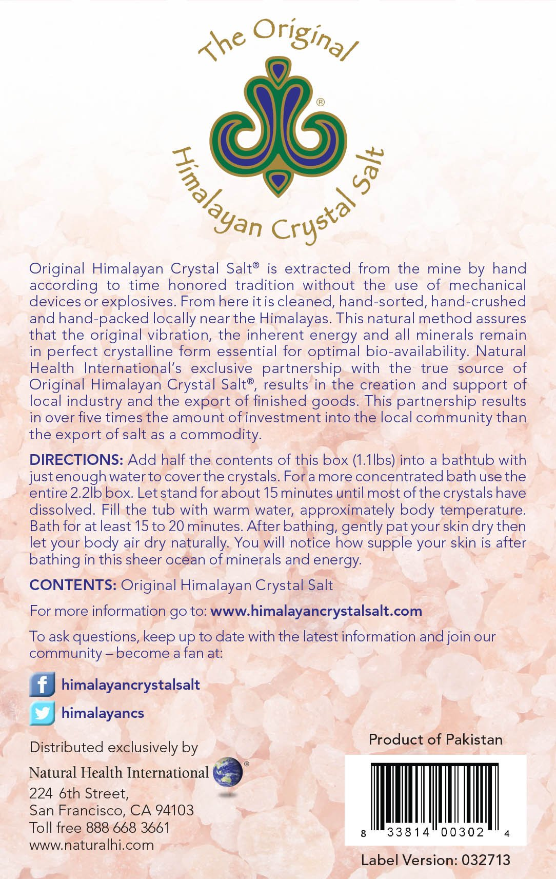 Original Himalayan Crystal Salt is extracted from the wine by hand according to time honored tradition without the use of mechanical devices or explosives. From here it is cleaned, hand-stored, hand-crushed and hand-packed locally near the Himalayas. This Natural method assures that the original vibration, the inherent energy and all minerals remain in perfect crystalline form essential for optimal bio-availability.