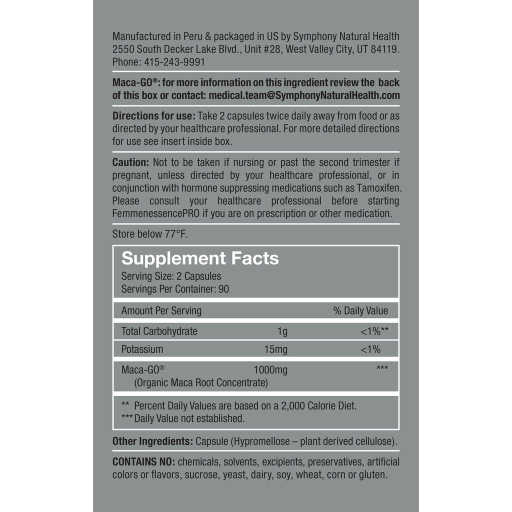 FemmenessencePRO  Supplement Facts Serving size: 2 Capsule, Serving Per container: 90