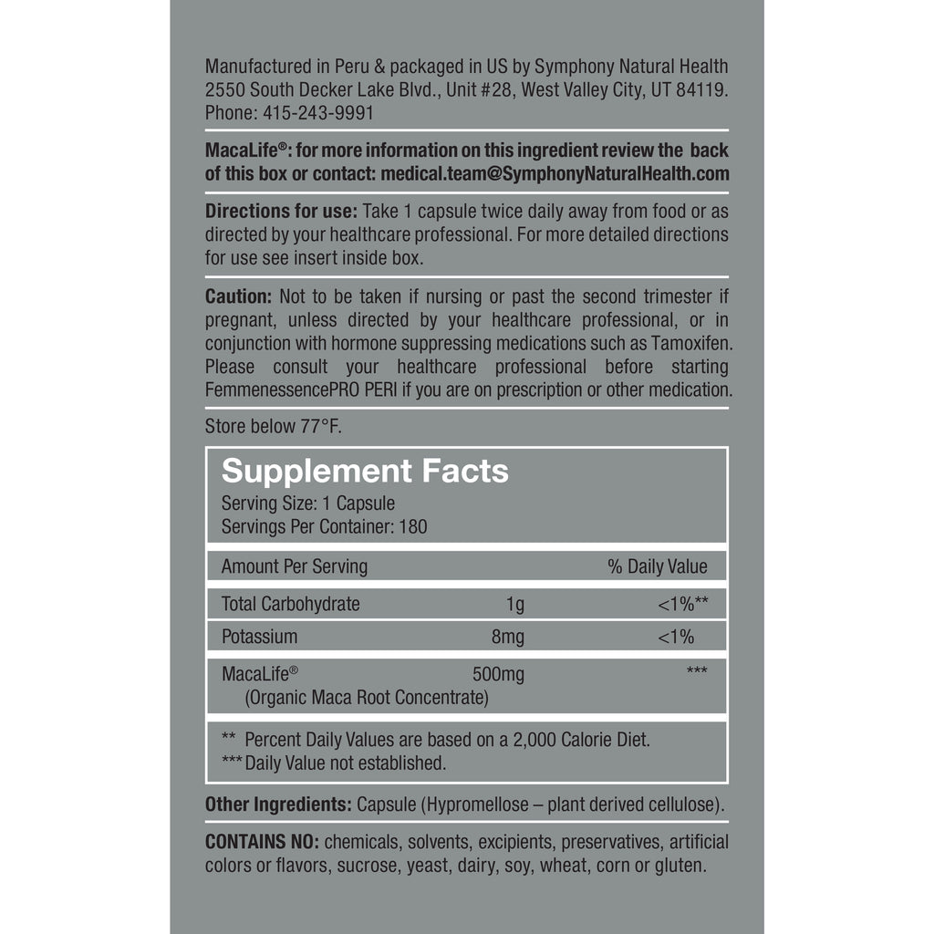 FemmenessencePRO PERI Supplement Facts Serving size: 1 Capsule, Serving Per container: 180