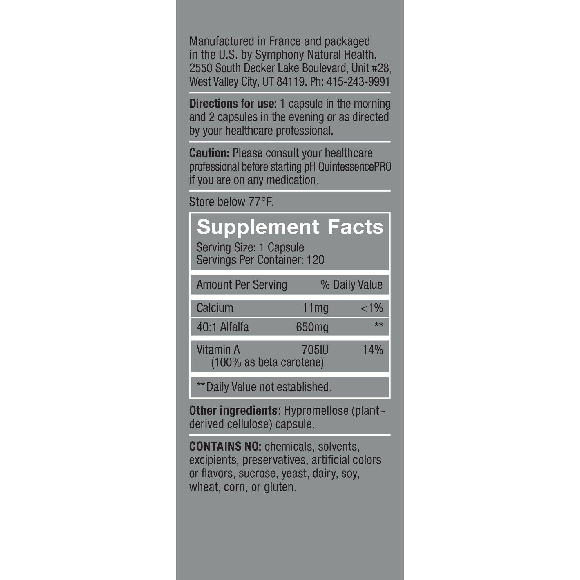 pH QuintessencePRO Supplement Facts, Serving Size: 1 Capsule, Servings Per container: 120