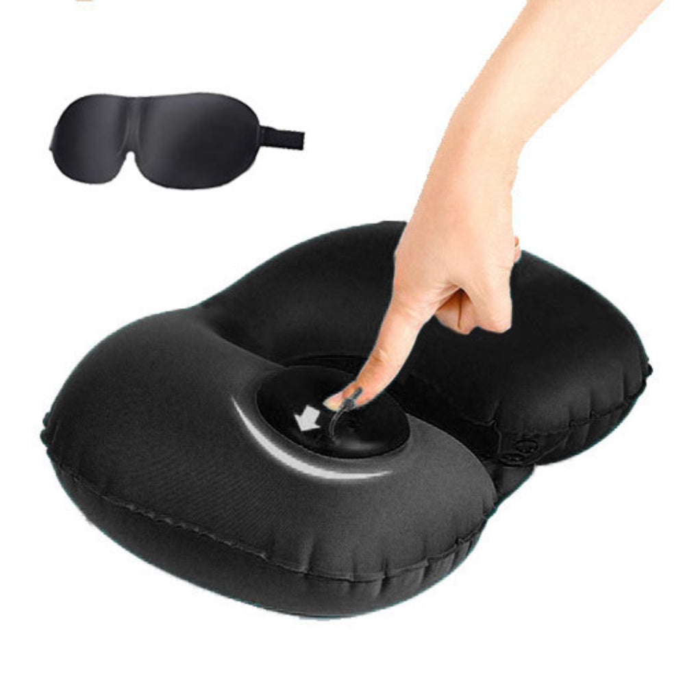 U-Shape Inflatable Neck Pillow and 3D Sleeping Eyemask Kit