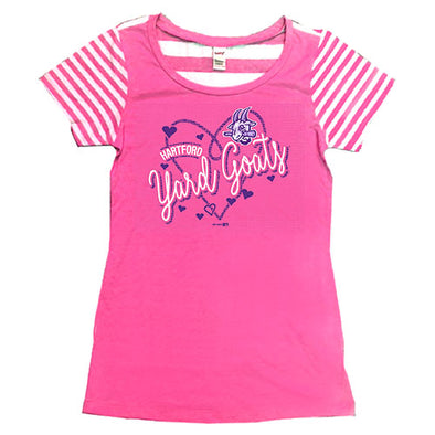 Hartford Yard Goats Bimm Ridder Yth Girls Striped Contrast Tee in Pink
