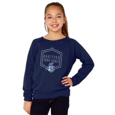 Hartford Yard Goats Girl's Slouchy Pullover in Navy