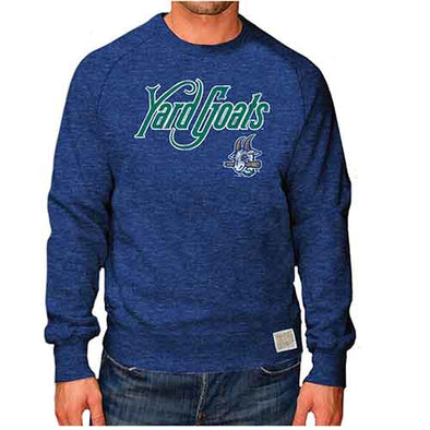 Hartford Yard Goats Retro Brand Adult Soft Heather Crew Pullover in Royal Blue