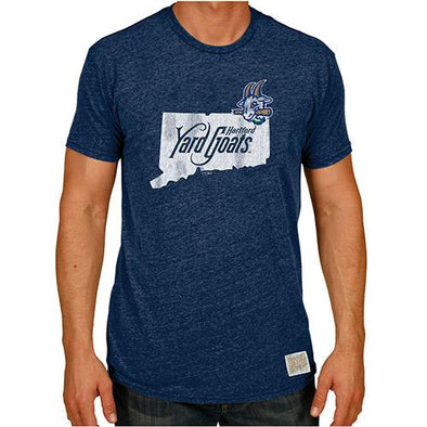 Hartford Yard Goats Adult Retro Brand Triblend State Logo T-Shirt in Navy