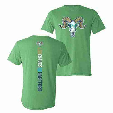 Hartford Yard Goats 108 Stitches Los Chivos Razorback Tee in Green