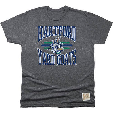 Hartford Yard Goats Retro Brand Men's Striped Tee in Charcoal