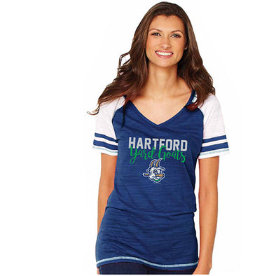 Hartford Yard Goats Soft as a Grape Women's Striped Sleeve Tee in Navy