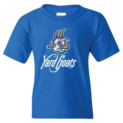 Hartford Yard Goats Youth BR Primary Logo Tee in Royal Blue
