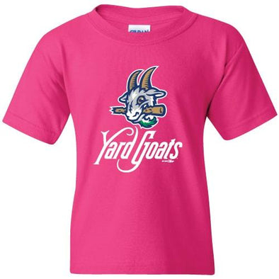 Hartford Yard Goats Youth BR Primary Logo Tee in Pink