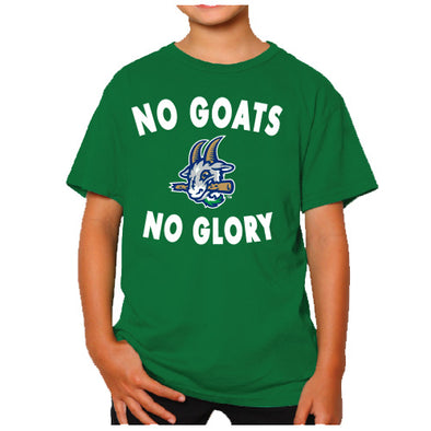 Hartford Yard Goats Retro Brand Youth No Goats No Glory Tee in Kelly Green