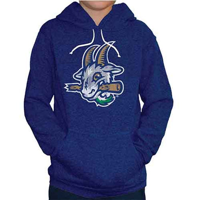 Hartford Yard Goats Retro Brand Youth Triblend Logo Hoodie in Blue