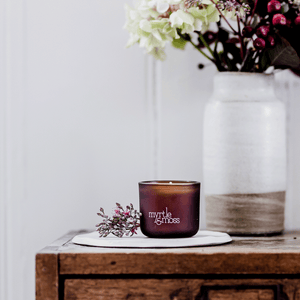 Myrtle & Moss Mini Soy Wax Candle - Rose Geranium, Grapefruit & Clary Sage
