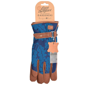Women's Navy Oak Leaf Gardening Gloves by Burgon & Ball