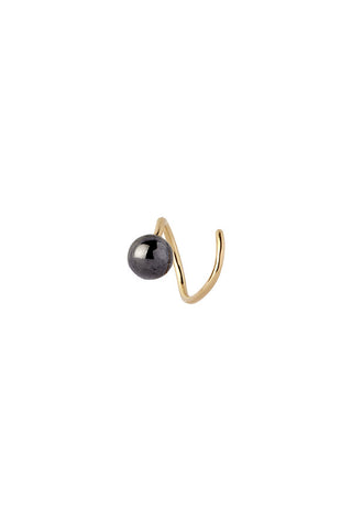 BALL TWIRL EARRING - BLACK/GOLD