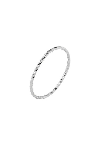 DIAMOND CUT RING - 14K WHITE GOLD