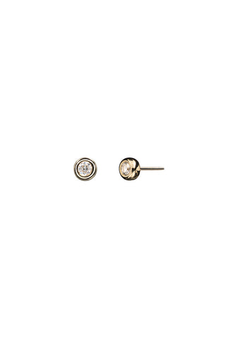 BIG STUD DIAMOND EARRING - 18K YELLOW GOLD