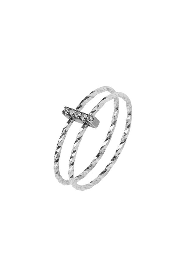 GISH MONO DIAMOND CUT RING - 14K WHITE GOLD