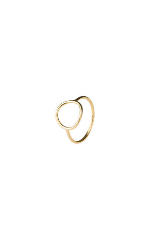 MONOCLE RING MEDIUM CIRCLE - HIGH POLISHED GOLD