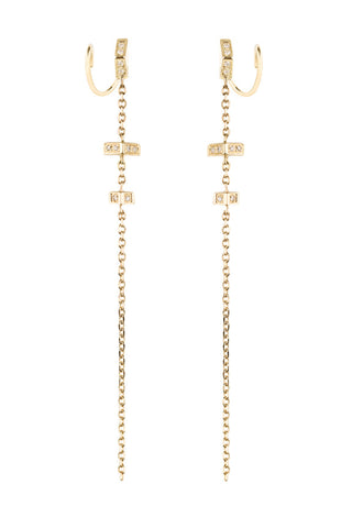 DUSK DIAMOND TWIRL EARRING  - 14K YELLOW GOLD