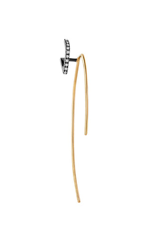 Elodie Noir Twirl Earring - 18K yellow gold