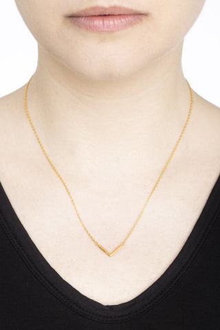 CHECK NECKLACE - HIGH POLISHED GOLD