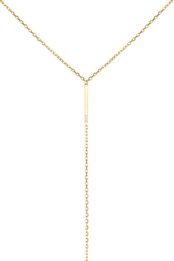 SANAE DIAMOND NECKLACE - HIGH POLISHED GOLD